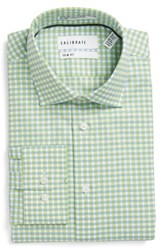 Calibrate Men's Big And Tall Trim Fit Non Iron Check Stretch Dress Shirt Green Limeaid