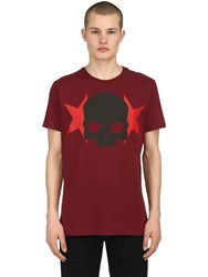 Hydrogen Skull And Stars Cotton Jersey T Shirt Bordeaux