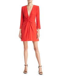 Emporio Armani Deep V Gathered 3 4 Sleeve Silk Crepe Short Cocktail Dress