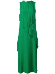 Cedric Charlier Front Panel Sleeveless Dress Green