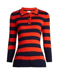 Frame Rugby Striped Wool And Cashmere Blend Sweater Navy Multi