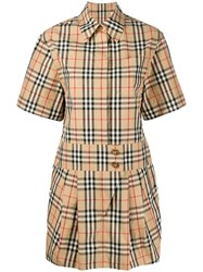 Burberry Vintage Check Shirt Dress Neutrals