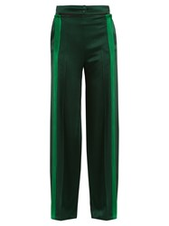 Valentino Cut Out Waist Hammered Satin Trousers Green