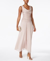 R And M Richards Petite Metallic A Line Gown Blush