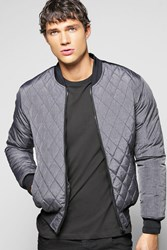 Boohoo Bomber With Pu Details Grey