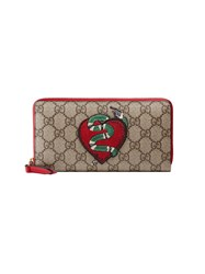 Gucci Limited Edition Zip Around Wallet Women Leather Canvas One Size Nude Neutrals