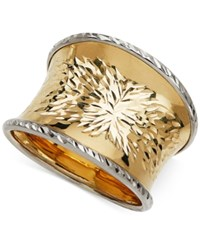 Macy's Two Tone Concave Statement Ring In 14K Gold Two Tone