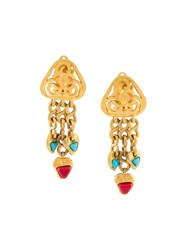 Chanel Vintage Tribal Clip On Earrings Metallic