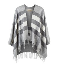 Burberry Shoes And Accessories Merino Wool And Cashmere Check Poncho Female Light Grey