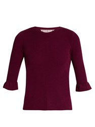 Red Valentino Fluted Cuff Cashmere And Silk Blend Top Burgundy