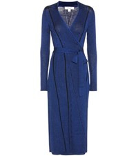 Diane Von Furstenberg Wool Blend Ribbed Wrap Dress Blue