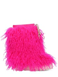 Casadei 110Mm Suede And Fur Ankle Boots Fuchsia