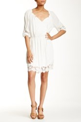Eci 3 4 Sleeve Lace Trim Boho Dress Beige