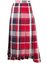 Thom Browne Pleated Check Midi Skirt Red