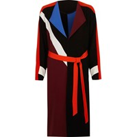 River Island Womens Black Color Block Belted Duster Coat