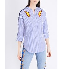 Sandro Lightning Bolt Embroidered Striped Cotton Shirt Navy Blue