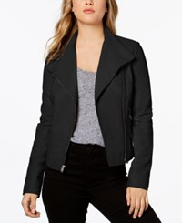 Marc New York Felix Asymmetrical Leather Moto Jacket Black