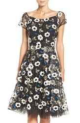 Eci Women's Sequin Embroidered Fit And Flare Dress