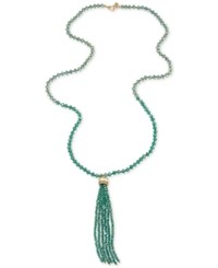 Carolee Gold Tone Glass Bead Tassel Necklace Green