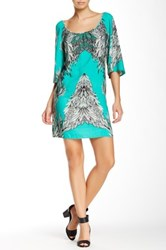 Glam Scoop Neck Printed Dress Green
