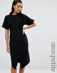 Asos Petite Wiggle Dress With Lace Insert Black Multi