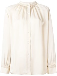 Vince Pleated Collar Blouse Nude Neutrals