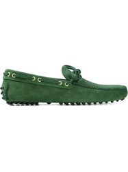 Car Shoe Perforated Loafers Green