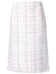 Thom Browne Ribbon Tweed Pencil Skirt White