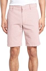 Zachary Prell Fringe Check Seersucker Shorts Coral