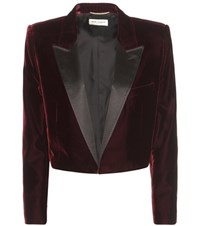Saint Laurent Cropped Velvet Tuxedo Jacket Red