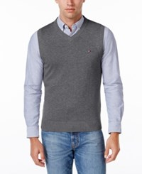 Tommy Hilfiger Men's Signature Solid V Neck Sweater Vest Grey Heather