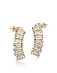 Abs By Allen Schwartz Goldtone Clear Crystal Ear Climbers White