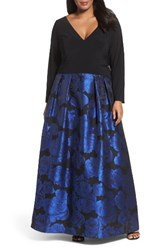 Xscape Evenings Plus Size Women's Brocade Gown Black Blue