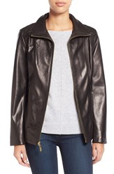 Women's Ellen Tracy Stand Collar Leather Jacket