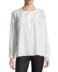 1.State Sheer Shoulder Long Sleeve Top Ivory