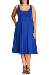 Plus Size Women's City Chic 'Classic Longline' Scoop Neck Midi Dress French Blue