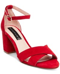 Steve Madden Steven By Voomme Ankle Strap Block Heel Dress Sandals Women's Shoes Red Suede