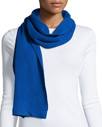 Portolano Cashmere Honeycomb Knit Scarf Blue Bell