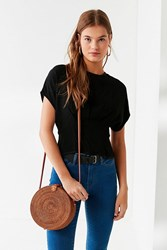 Urban Outfitters Circle Straw Crossbody Bag Brown