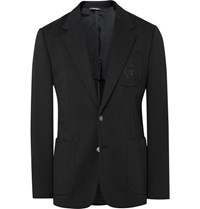Dolce And Gabbana Black Slim Fit Embroidered Stretch Jersey Blazer Black