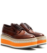 Prada Wingtip Platform Leather Brogues Brown