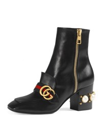 Gucci Peyton Web Strap Leather Ankle Boot Black
