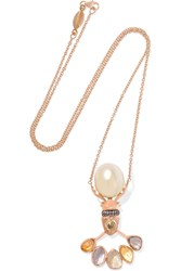 Daniela Villegas The Sun King 18 Karat Rose Gold Sapphire And Pearl Necklace