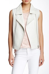 My Tribe Asymmetrical Zip Leather Vest White