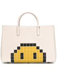 Anya Hindmarch Maxi 'Ebury' Pixel Smiley Tote Nude And Neutrals