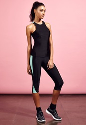 Missguided Print Panel Cropped Gym Leggings Mint Black