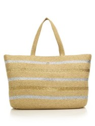Eric Javits Sinclair Striped Metallic Woven Squishee Tote White Silver Tan