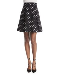 Carolina Herrera Polka Dot Party Skirt Black White Women's