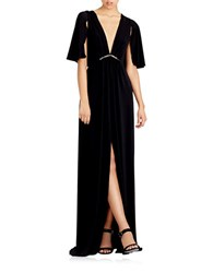 Halston Short Cape Sleeve Jersey Gown Black