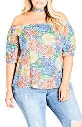 City Chic Plus Size Etched Bloom Top With Choker